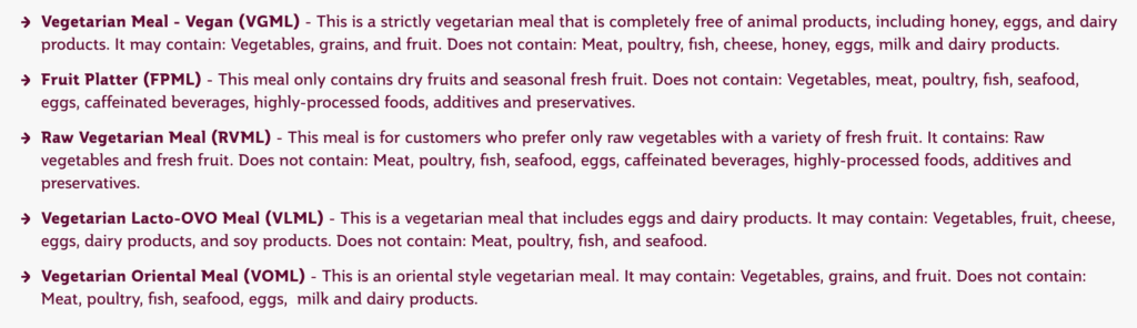 qatar airways vegan meal options