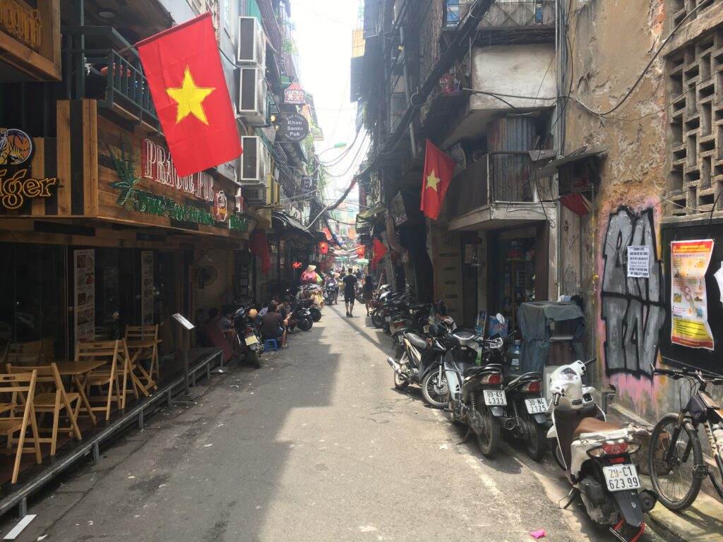 hanoi flags on city streets