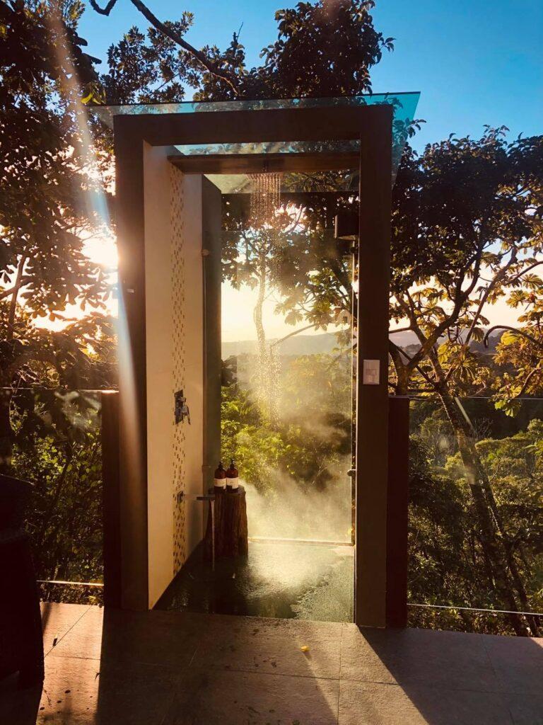 luxury outdoor shower in monteverde