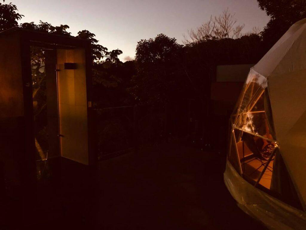 chira glamping tent at night