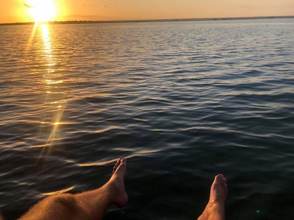 sunrise on bacalar lake mexico
