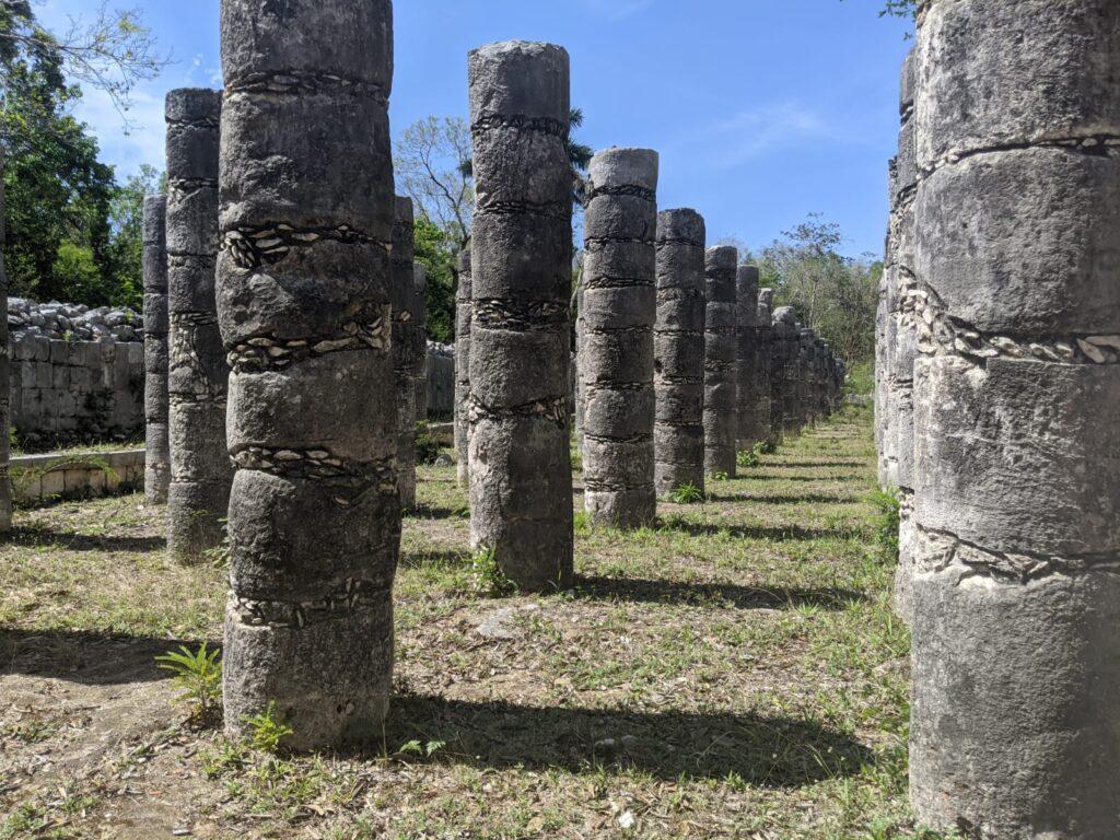pillars at chichen itza